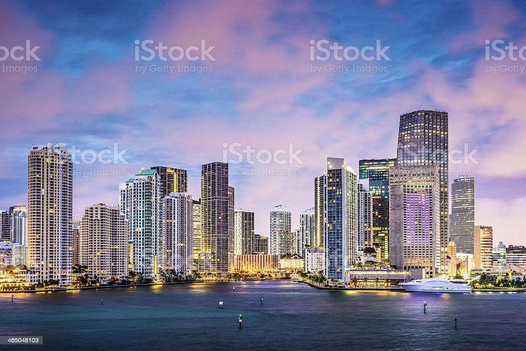 Ocean skyline view of Miami with pink clouds stock photo