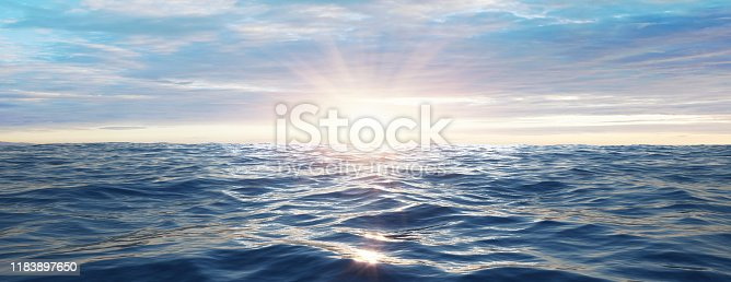 Sunset at sea with small waves- 3D illustration