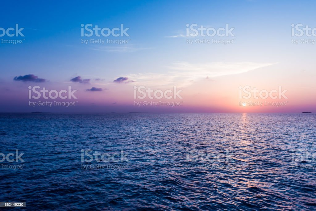 Ocean sunset. stock photo