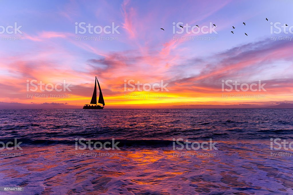 Ocean Sunset Sailboat Silhouette – Foto
