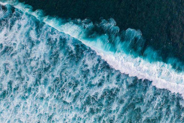 Ocean surf from above Water surface background. Aerial drone shot lesser sunda islands stock pictures, royalty-free photos & images