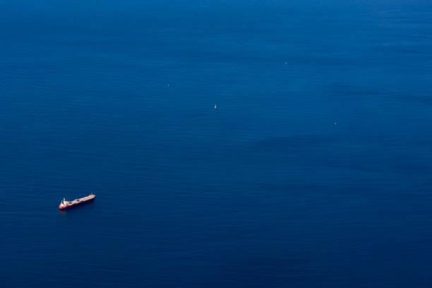 Ozean Tanker Transport Schiff blauer Himmel Luftaufnahme Commercial – Foto
