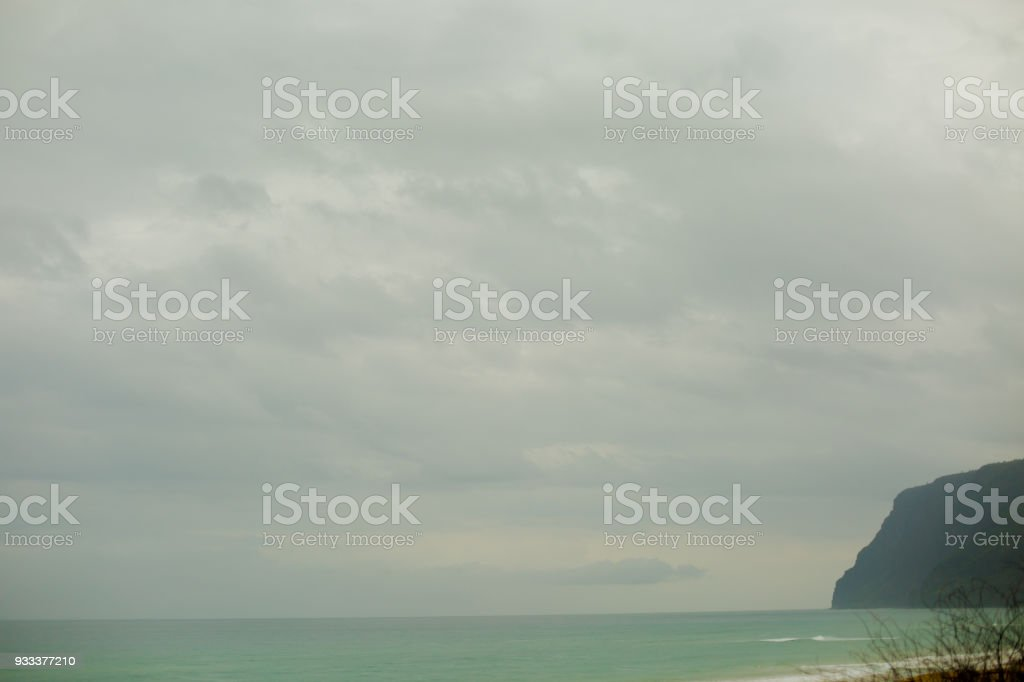 Ocean view at sunrise, from Polihale state park of Kauai, Hawaii. stock photo