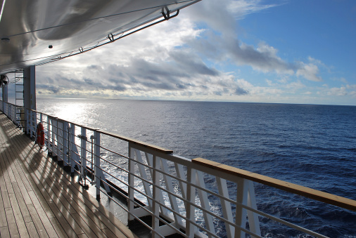 istock Ocean view from a cruise ship deck 487200659