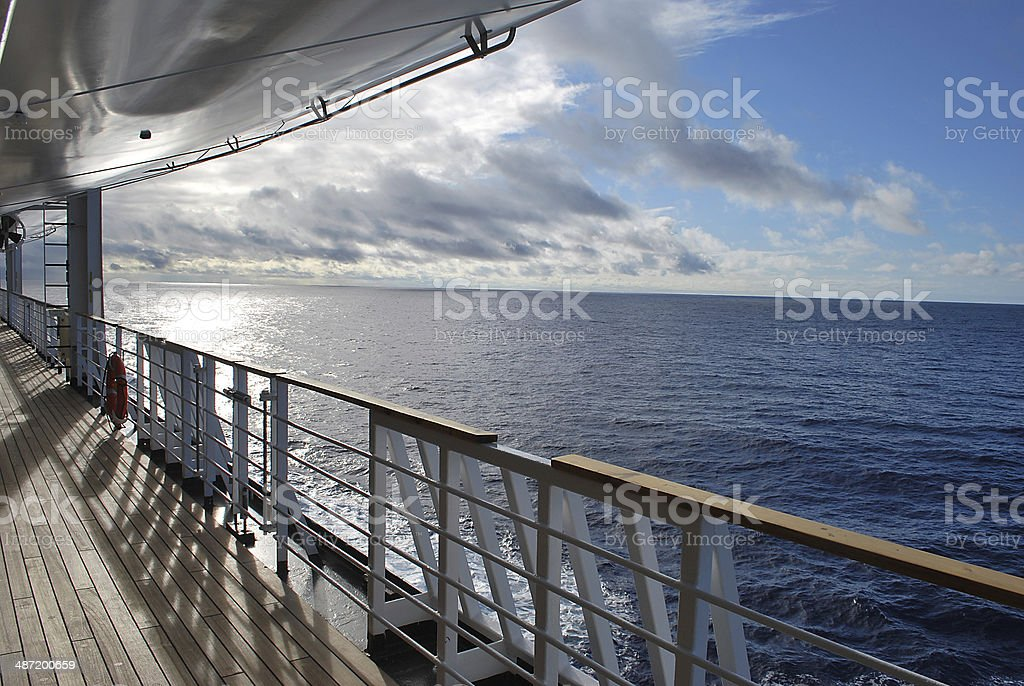 Ocean view from a cruise ship deck stock photo
