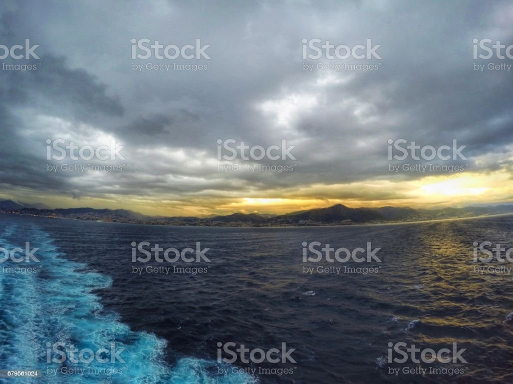 Ocean view from cruise ship on Marseille. Mountain view from sea Mediterranean stock photo