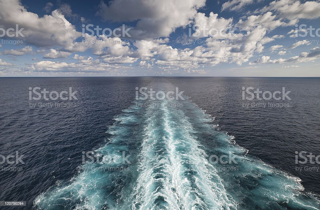 Ocean view from cruise vessel with wake trace royalty-free stock photo