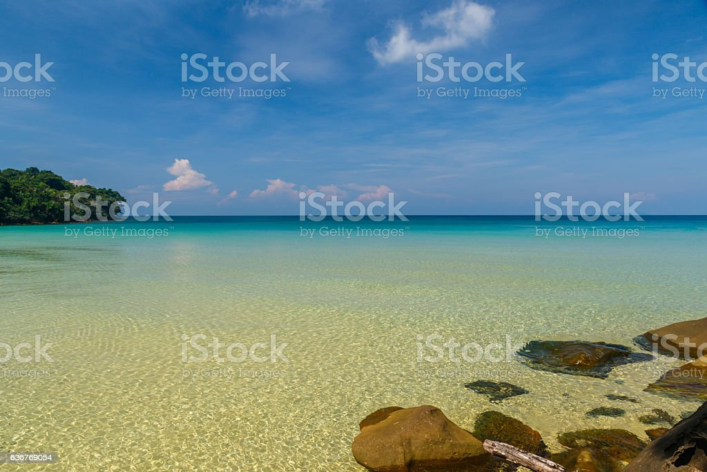 Ocean view from Sai Daeng Beach on Koh Kood, Thailand stock photo