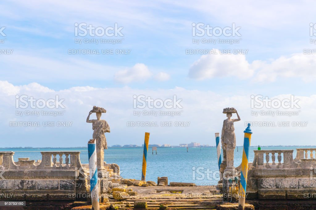 Ocean view from the backyard of Vizcaya Museum in Miami, Florida. stock photo