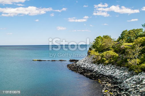 a picture of an ocean view from the cliff walk in Newport Rhode Island
