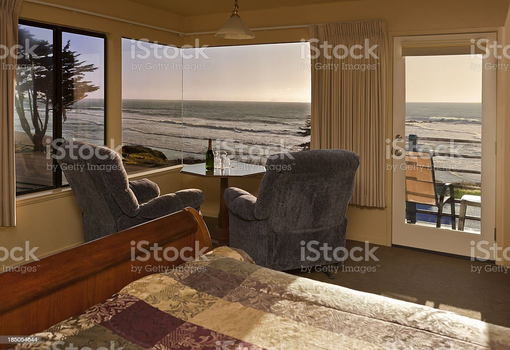 Ocean View Hotel Room on the Pacific royalty-free stock photo