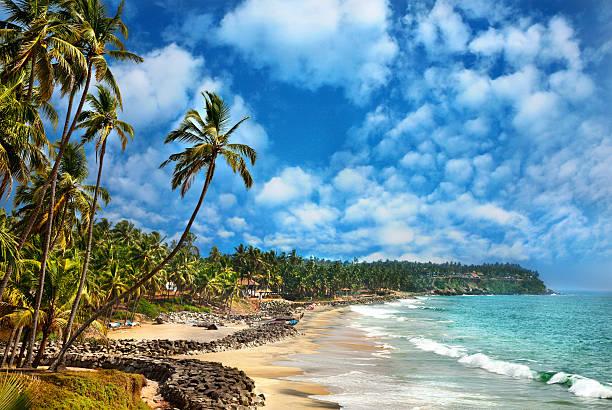 Ocean view in Varkala Kerala India stock photo