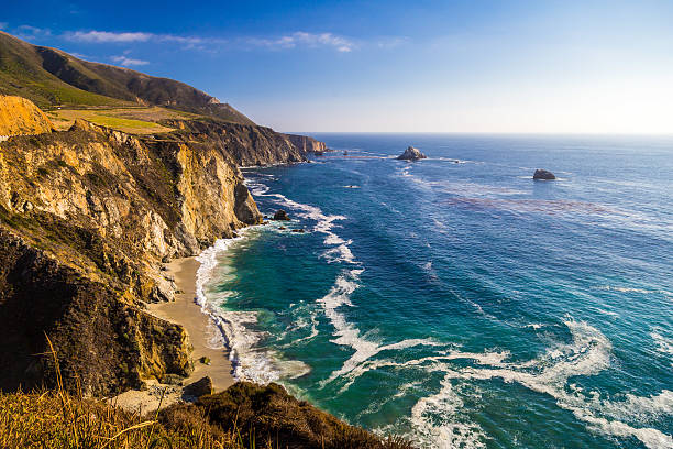 Ocean view near Bixby Creek Bridge in Big Sur, California stock photo