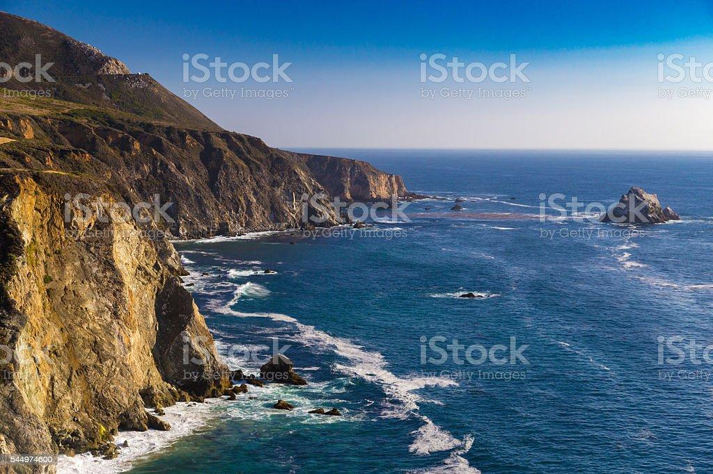 Ocean view near Bixby Creek Bridge in Big Sur, California stock photo