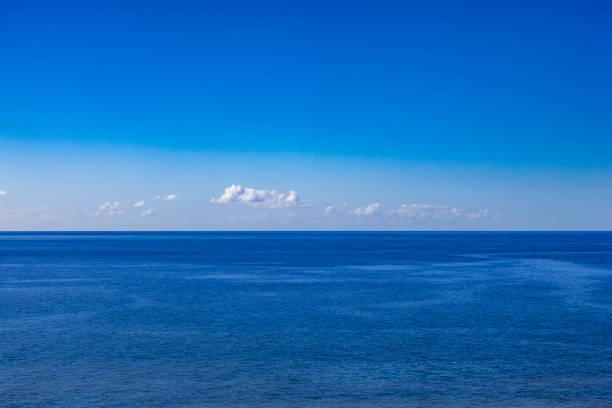 ocean view panorama, horizon over water stock photo