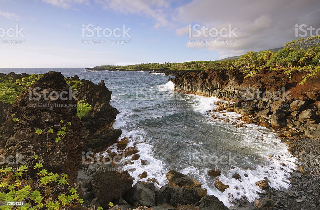 Ocean views in Waianapanapa State park stock photo
