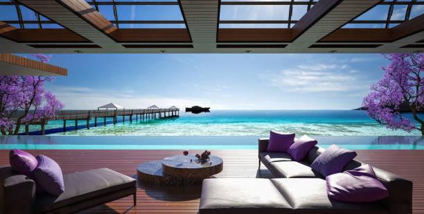 willa z oceanu, luksusowy dom z basenem i widokiem na morze - kurort turystyczny zdjęcia i obrazy z banku zdjęć