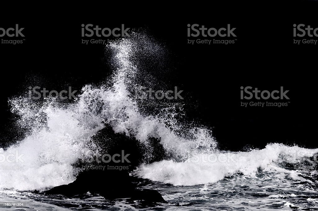 Ocean Water Splash Isolated on Black stock photo