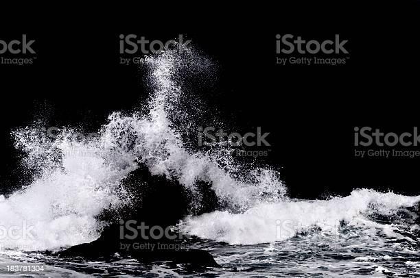 Photo of Ocean Water Splash Isolated on Black