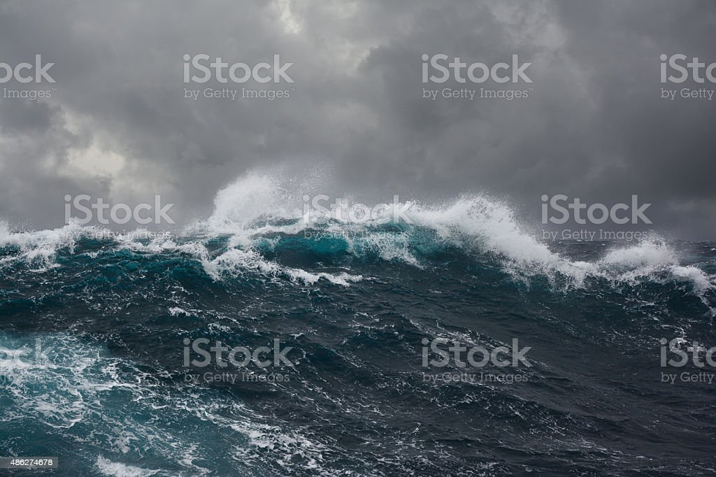 ocean wave during storm royalty-free stock photo