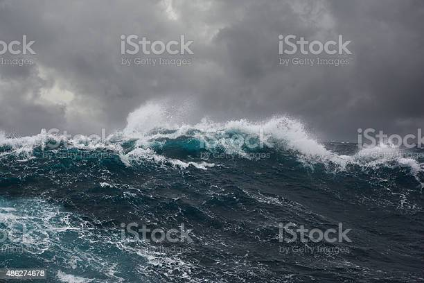 Photo of ocean wave during storm