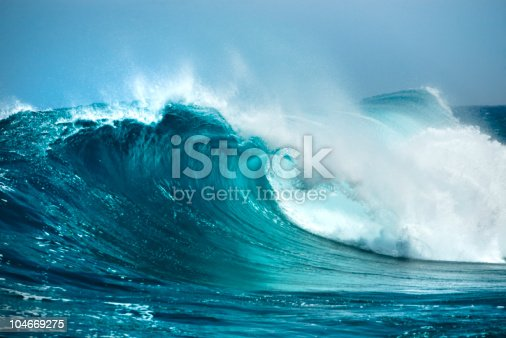 pure blue water with air bubbles on white background