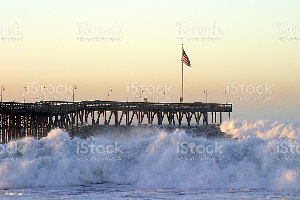 Ocean Wave Storm Pier royalty-free stock photo