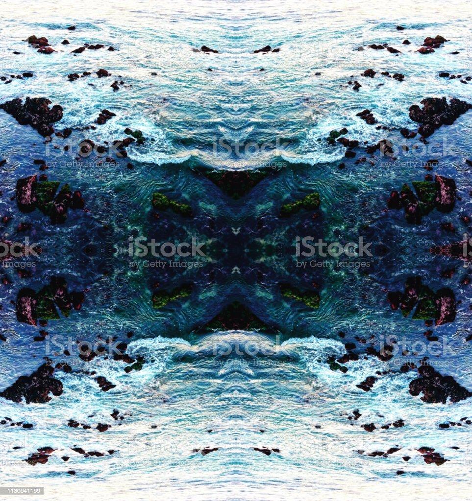 Ozeanwellen abstrahiges Kaleidoskop-Muster – Foto