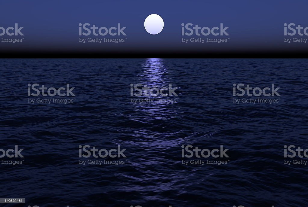 Ocean waves are gently rolling along in the moon's reflection royalty-free stock photo