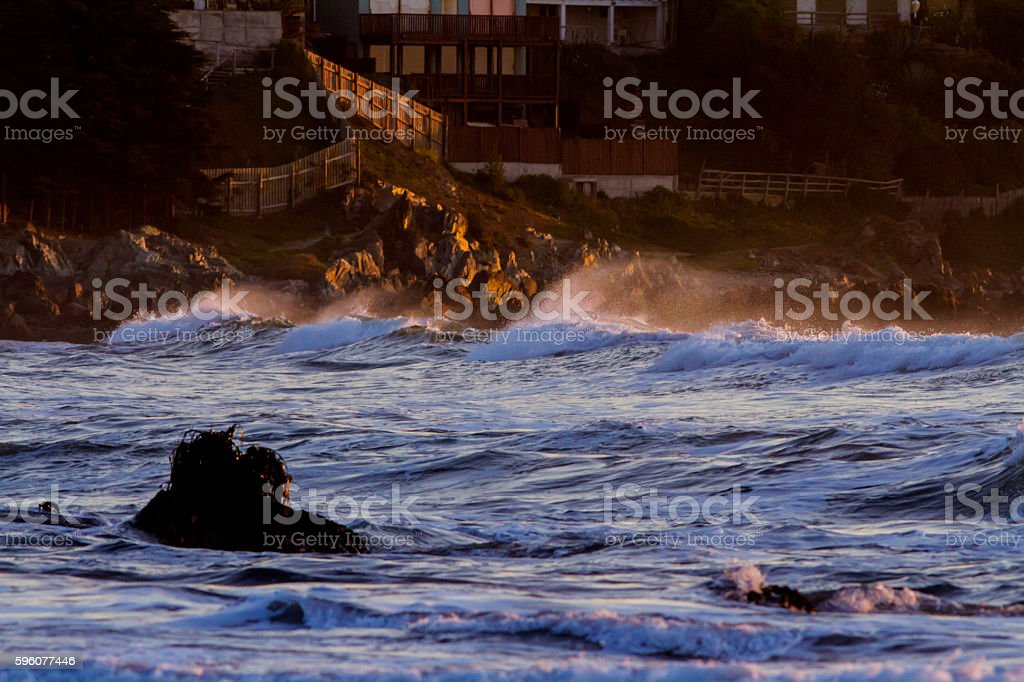 Ocean waves at sunset royalty-free stock photo