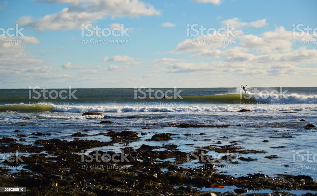 ocean waves breaking sunny day surfers wipout seaweed foreground bohkeh stock photo