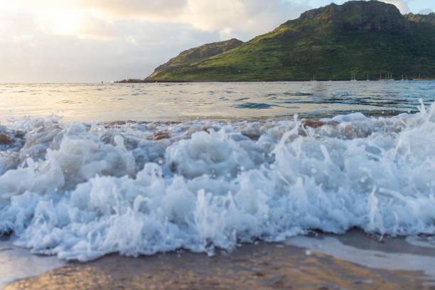 Ocean Waves Crashing into Hawaii Shoreline stock photo