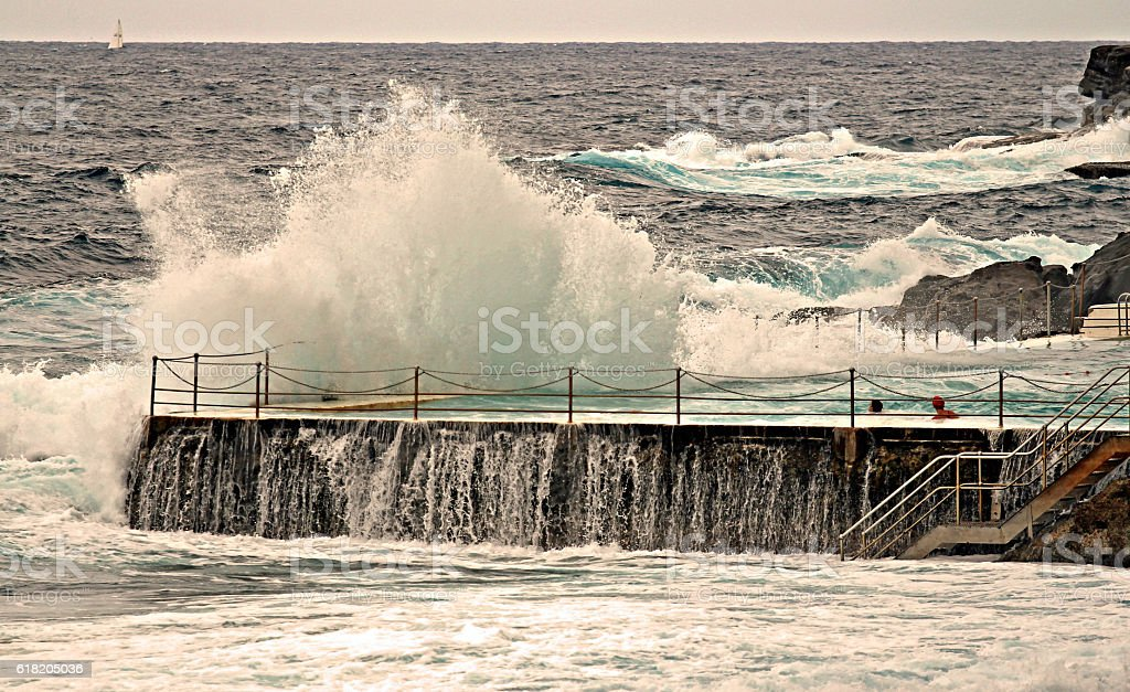 Ocean Waves Crashing Swimming Pool stock photo