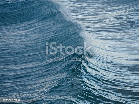 Horizontal photo of dark blue Pacific Ocean waves rolling towards the beach at Brunswick Heads, north coast NSW Australia