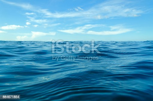 ocean waves from the near with blue sky