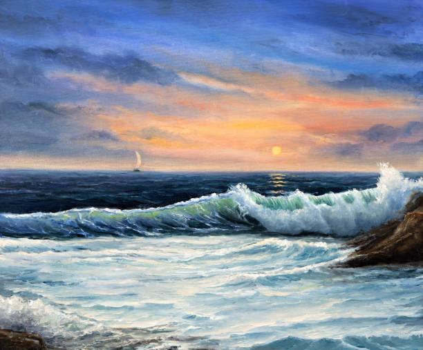 okyanus dalgaları - yağlı boya resim stok fotoğraflar ve resimler