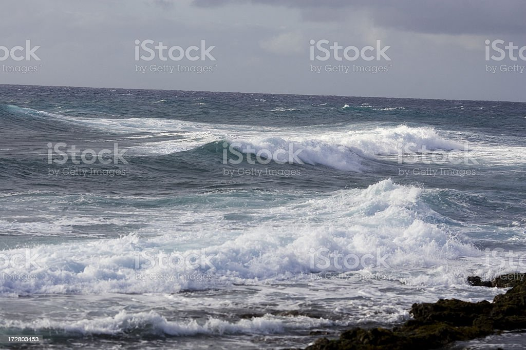 Ocean waves pound the surf royalty-free stock photo