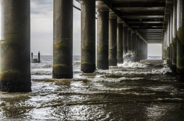Meereswellen unter der Anlegestelle des Atlantik-Stadt-Strandes – Foto