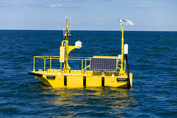 ocean weather research buoy - boje stock-fotos und bilder