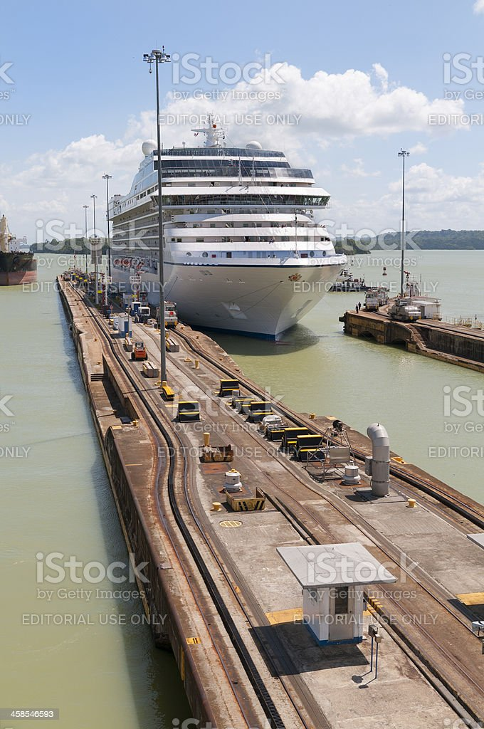 Oceanas Cruise Ship Marina entering Gatun Lock royalty-free stock photo