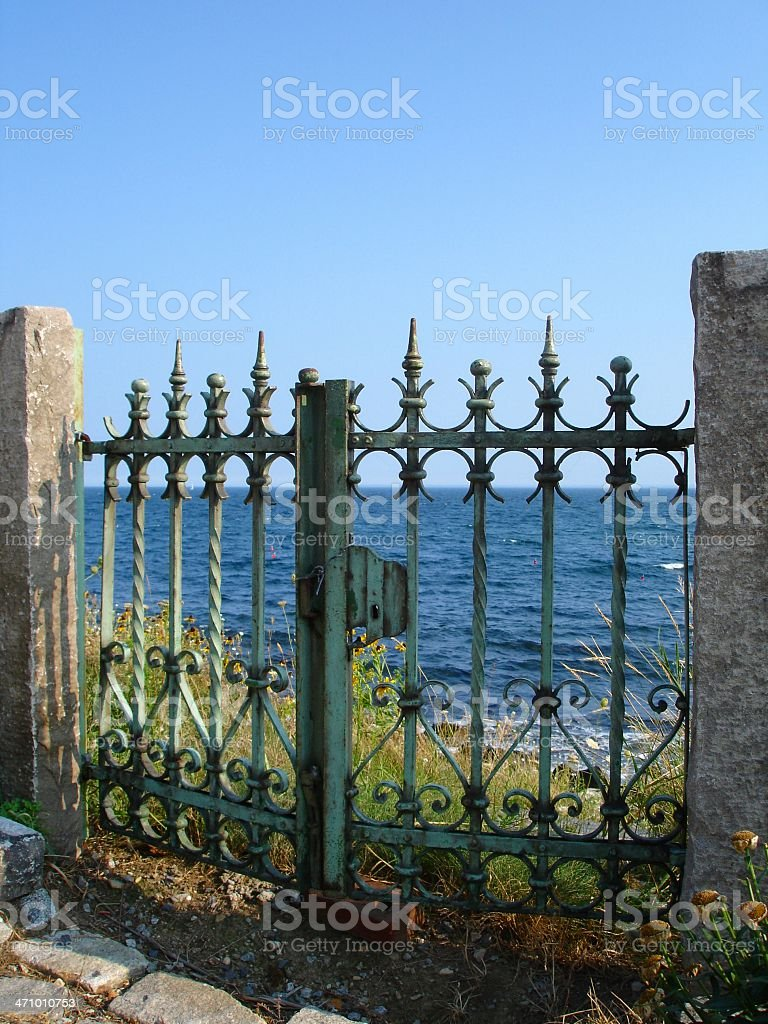 Oceanfront Fence royalty-free stock photo