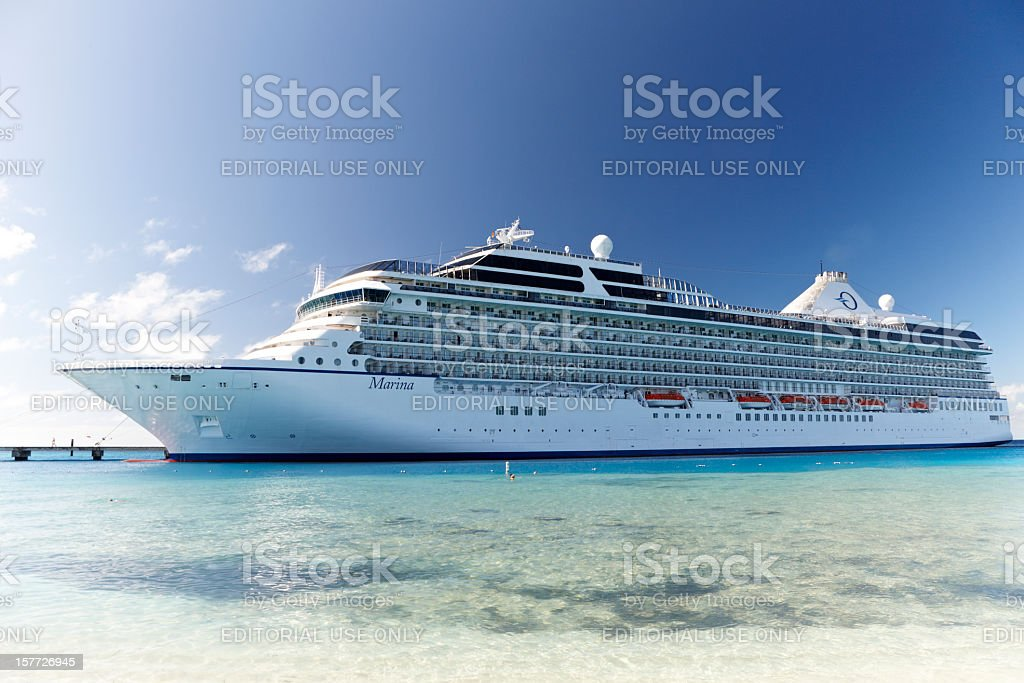 Oceania Marina Cruise Ship at Terminal, Grand Turk, Caribbean stock photo
