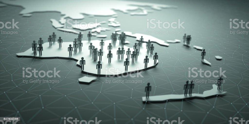 Oceania Population stock photo