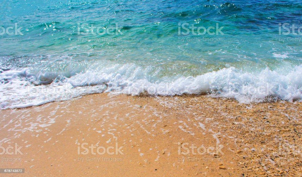 Okyanus sahne kum plaj ve deniz dalga ile. Turkuaz mavi tropikal deniz lagün mükemmel bir tatil için. royalty-free stock photo