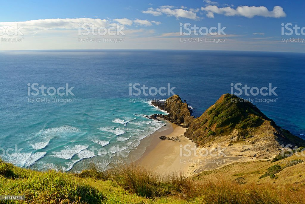 Oceans melting at Cape Reinga stock photo