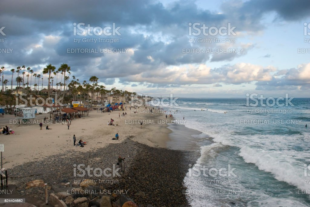 Oceanside beach at sunset, Orange County - California stock photo