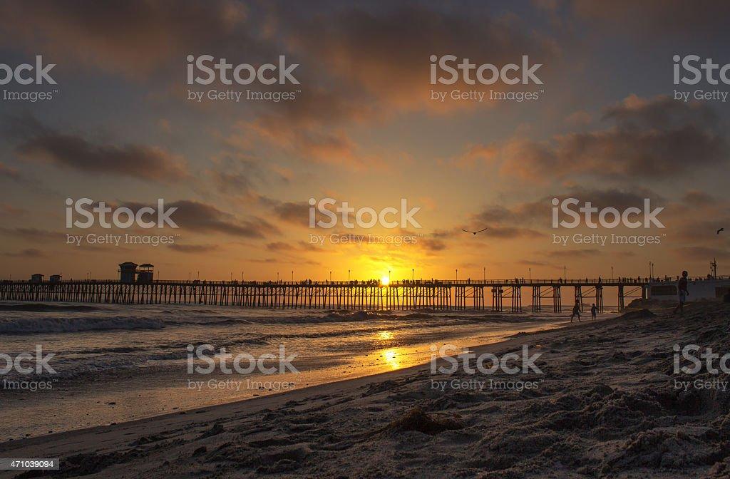 Oceanside, CA Sunset stock photo