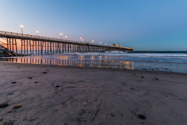 Oceanside, California Fishing Pier at Dawn stock photo