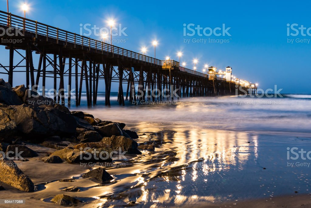 Oceanside Fishing Pier at Dawn stock photo