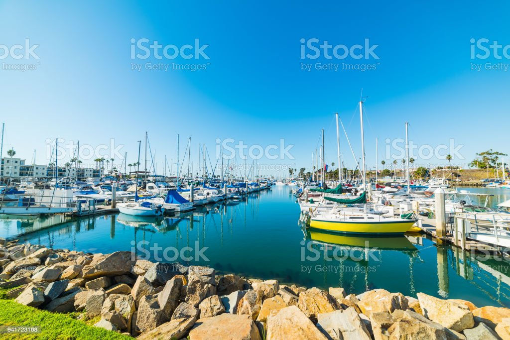 Oceanside harbor under a blue sky stock photo